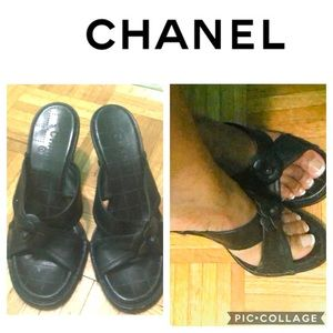 Chanel quilted Black flower criss criss slides